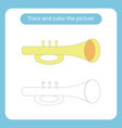 trumpet toy with simple shapes trace and color vector image vector image