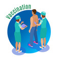 vaccine injection circle background vector image vector image