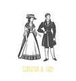 vintage lady and gentleman style vector image vector image