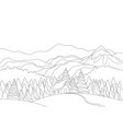 winter mountains snowy landscape with snow houses vector image vector image