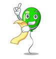 with menu green ballon cartoon ribbons