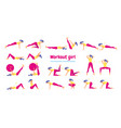 woman in gym set of gym icons in flat style vector image vector image