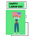workman in uniform holding usa flag labor day vector image vector image