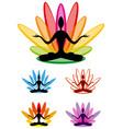 yoga lotus emblem set vector image