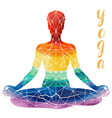 yoga rainbow silhouette vector image vector image