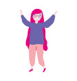 young woman with long hair hands up celebrating vector image