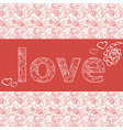 template for greeting card with the word love vector image