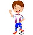 Cartoon kid playing football vector image