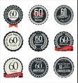 anniversary retro badge collection 60 years vector image vector image