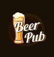 beer pub logo on dark beautiful background vector image vector image