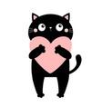 black cat kitten kitty holding pink heart happy vector image vector image