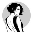 bob hairstyle beautiful woman portrait in black vector image vector image