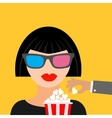 Brunet girl at the Cinema theatre in 3D glasses vector image