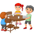 cartoon kids setting the dining table by placing g vector image vector image