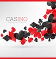 casino playing cards symbols floating in gray vector image vector image