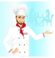 cheerful male hipster chef holding something vector image vector image