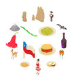 Chile travel icons set isometric style vector image