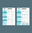 company application cv resume template vector image