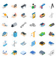 construction site icons set isometric style vector image vector image