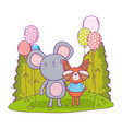 cute and little mouse with raccoon vector image