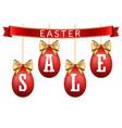 easter egg sale 3d banner set gold ribbon bow vector image vector image