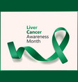 emerald green ribbon for liver cancer awareness vector image vector image