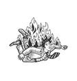 falling burning man engraving vector image vector image