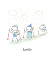Family skiing vector image