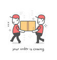 fast delivery service creative of two delivery vector image