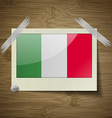 Flags Italy at frame on wooden texture vector image