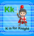 flashcard letter k is for knight vector image vector image