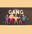 flat criminal gang composition vector image