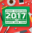 Flat Design Merry Christmas 2017 vector image vector image