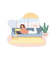 freelancer working on laptop on sofa at home vector image vector image