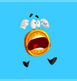 frightened bitcoin character screaming funny vector image vector image