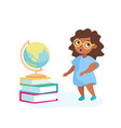 girl character stand at books pile with globe on vector image