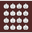 Halloween pumpkins icon set vector image