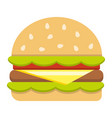 hamburger flat icon food and drink fast food vector image