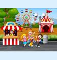 happy kids having fun in an amusement park vector image vector image