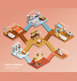 hotel isometric composition vector image vector image