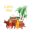 indian man and woman with bull and clay pots and vector image