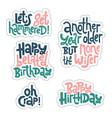 irreverent birthday sticker set design template vector image vector image