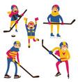isolated on white hockey family with hockey sticks vector image vector image