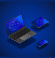 isometric gadgets mock up set realistic laptop vector image vector image