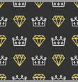 king crown and brilliant on seamless pattern vector image