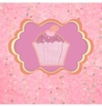 Label with cupcake on pink with polka dots EPS 8 vector image