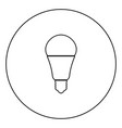 led lightbulb black icon outline in circle image vector image