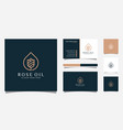luxury rose oil logo and business card template vector image