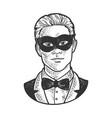 man in black masquerade mask sketch vector image vector image