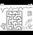 maze with dwarf and gem for coloring vector image